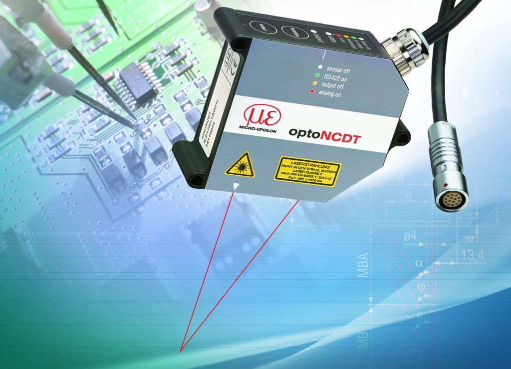 New non contact laser displacement sensor for measurement on reflecting surface